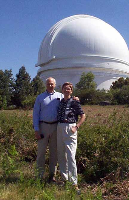 Meg and John Menke shown on a         visit to Palomar Mountain Observatory